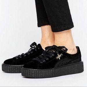 Fenty Rihanna Puma Black Velvet Creepers - Size 10